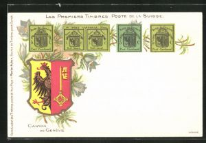 AK Canton de Geneve, Les premiers Timbres Post de la Suisse, Briefmarken und Wappen