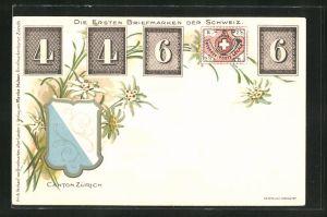 AK Canton Zürich, die ersten Briefmarken der Schweiz und Wappen