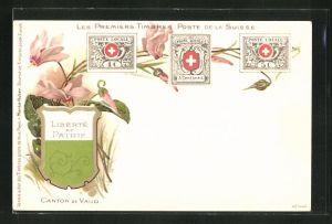 AK Canton de Vaud, Les premiers Timbres Poste de la Suisse