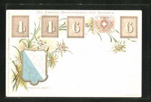 AK Canton Zürich, die ersten Briefmarken der Schweiz mit Wappen