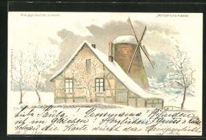 Lithographie Winter u. Sommer, Windmühle im Schnee, Halt gegen das Licht