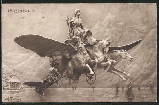 Künstler-AK Domenico Mastroianni: Pour la Patrie, Pferdewagen mit Flügeln