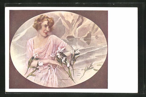 Künstler-AK Manasse: Frau mit Blumen