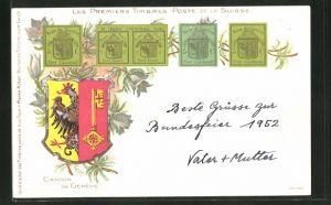 AK Canton de Geneve, Les Premiers Timbres Poste de la Suisse, Briefmarken mit Wappen