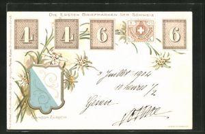 AK Canton Zürich, Die ersten Briefmarken der Schweiz
