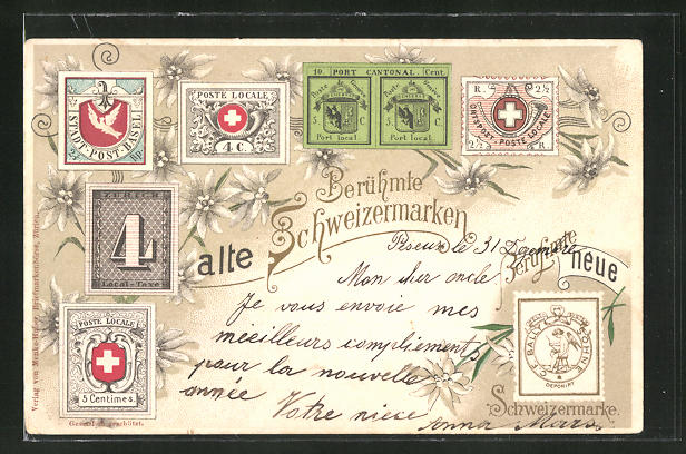 AK alte berühmte Schweizermarken, berühmte neue Schweizermarke