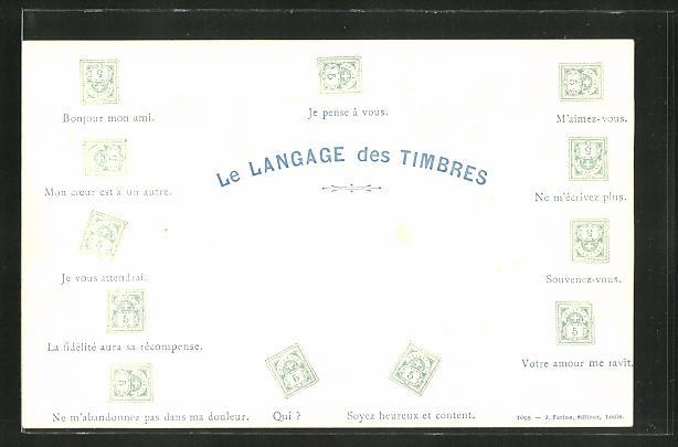 AK Briefmarkensprache, Le Langage des Timbres, Je vous attendrai, Bonjour mon ami, M'aimez-vous