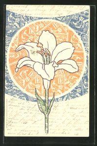 AK Blume in einer Briefmarkencollage