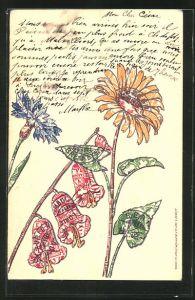 AK Blumen als Briefmarkencollage