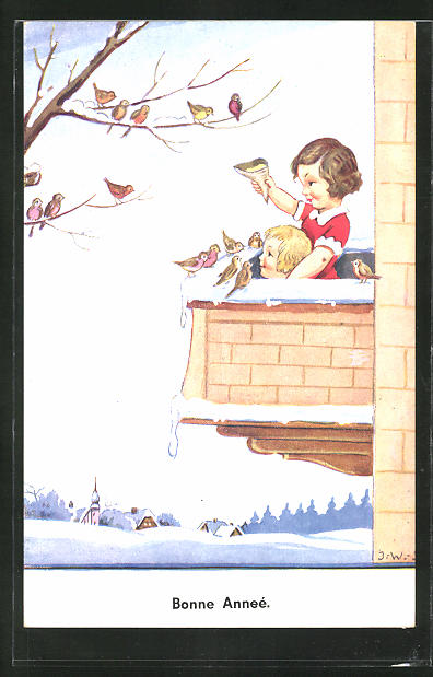 Künstler-AK John Wills: Kinder auf dem Balkon