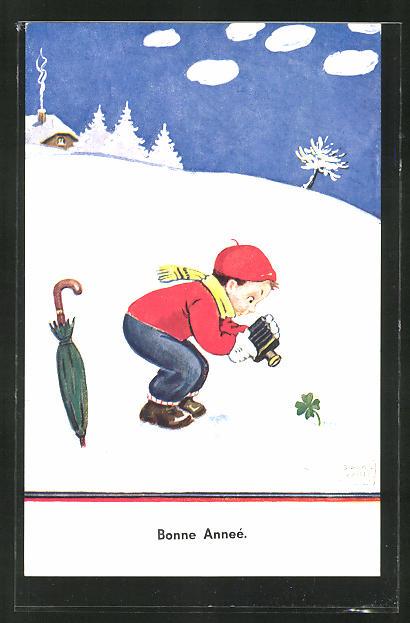 Künstler-AK John Wills: Junge mit Fotokamera im Schnee