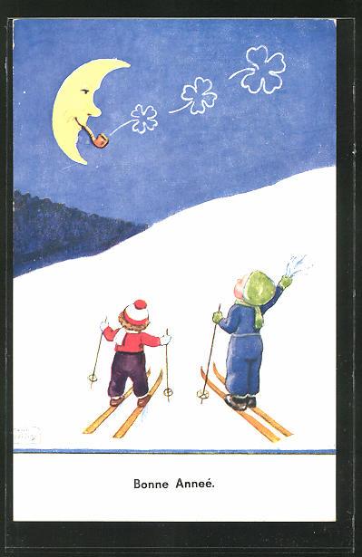 Künstler-AK John Wills: Kinder mit Skiern im Schnee bei Nacht