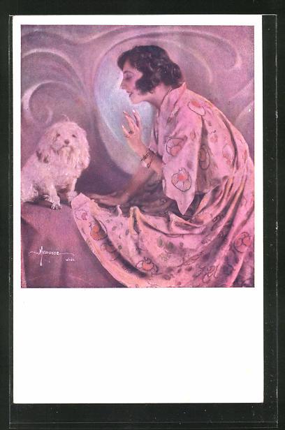 Künstler-AK Manasse: hübsche Dame im Morgenmantel mit Hund