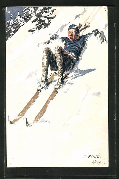 Künstler-AK O. Merte: gestürzter Skifahrer auf der Piste