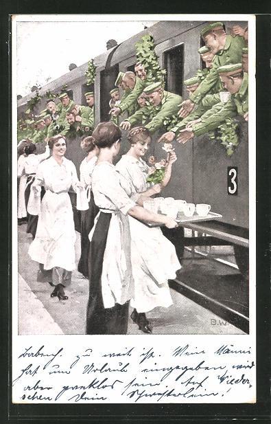 Künstler-AK Brynolf Wennerberg: Erfrischungsstation, Soldaten im Zug