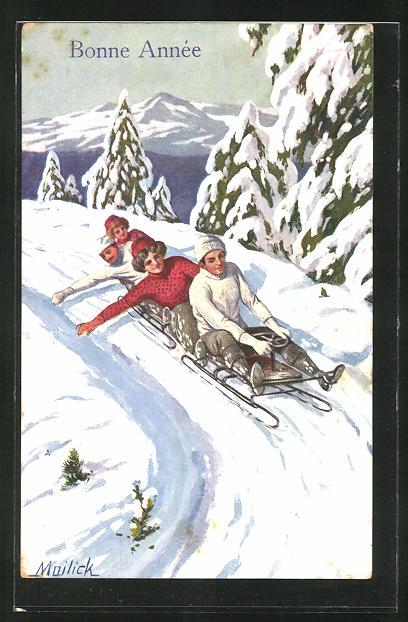 Künstler-AK Alfred Mailick: Bonne Annee, Schlittenfahrt im verschneiten Gebirge
