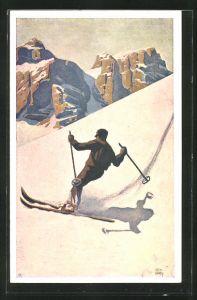 Künstler-AK Otto Barth: Skifahrer im verschneiten Gebirge