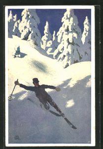 Künstler-AK Otto Barth: Skifahrer auf der verschneiten Piste
