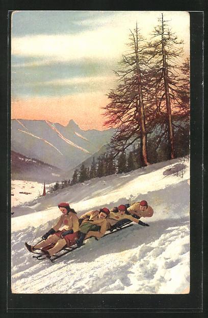 AK Schlittenfahrt im verschneiten Gebirge