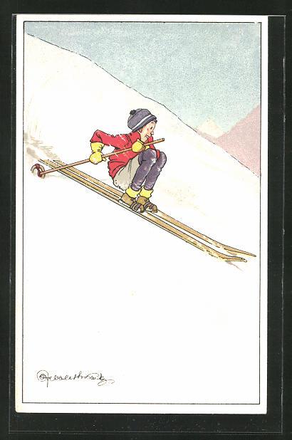 Künstler-AK Vorsichtiger Skifahrer bei der Abfahrt