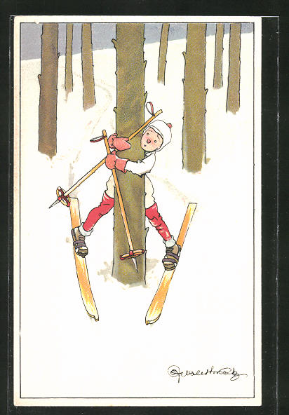 Künstler-AK Skifahrer hält sich an einem Baum fest