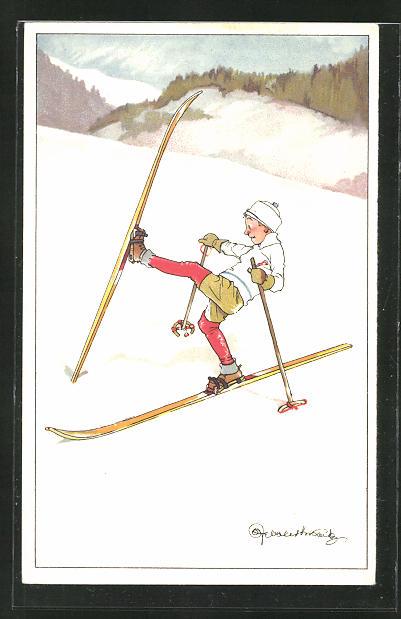 Künstler-AK Aller Anfang ist schwer, Unsicherer kleiner Skifahrer