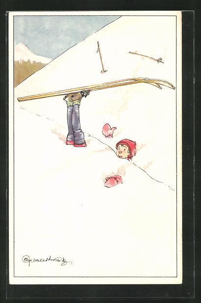 Künstler-AK Skifahrer nach einem Sturz im weichen Schnee