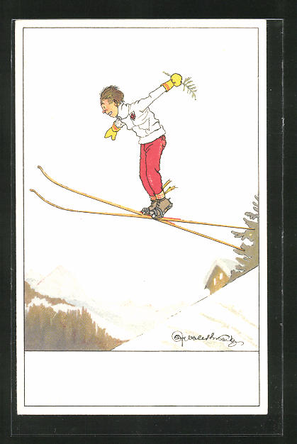 Künstler-AK Kleiner Skispringer im Fluge