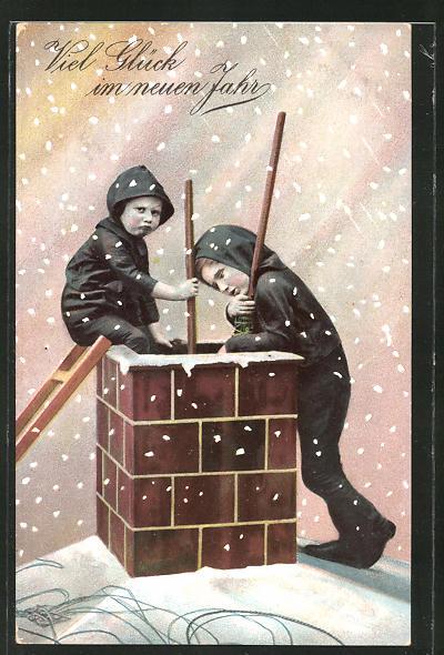 AK Schornsteinfegerjungen mit Leiter auf dem Dach, Neujahrsgruss