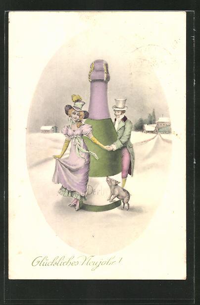AK Paar mit einer Sektflasche und Schwein