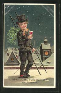 Präge-AK Schornsteinfeger mit Glas und Leiter im Schnee, Neujahrsgruss