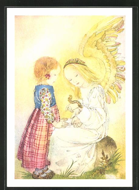 Künstler-AK Sulamith Wülfing: Engel mit kleinem Mädchen und Raupe