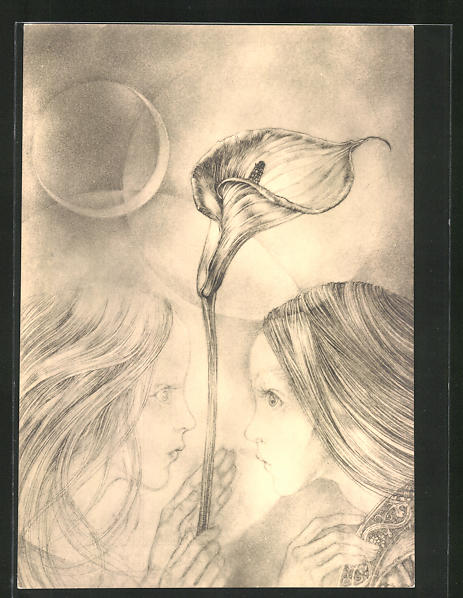 Künstler-AK Sulamith Wülfing: Serie 5 - Blüten, zwei Mädchen mit Blume und Mond