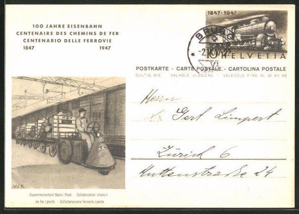 AK 100 Jahre Eisenbahn, Güterwaggons mit Paketwagen und Fahrer, Ganzsache