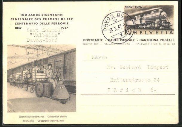 AK 100 Jahre Eisenbahn, Güterwaggons mit Pakettransport und Fahrer, Ganzsache