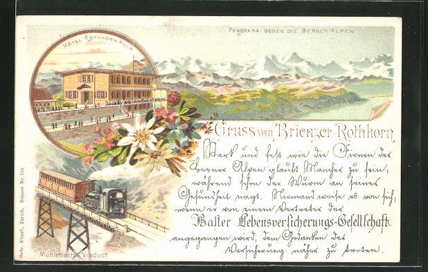 Lithographie Brienz, Panorama gegen die Berner-Alpen, Hotel Rothhorn-Kulm, Mühlebach-Viaduct, Brienzer-Rothhorn
