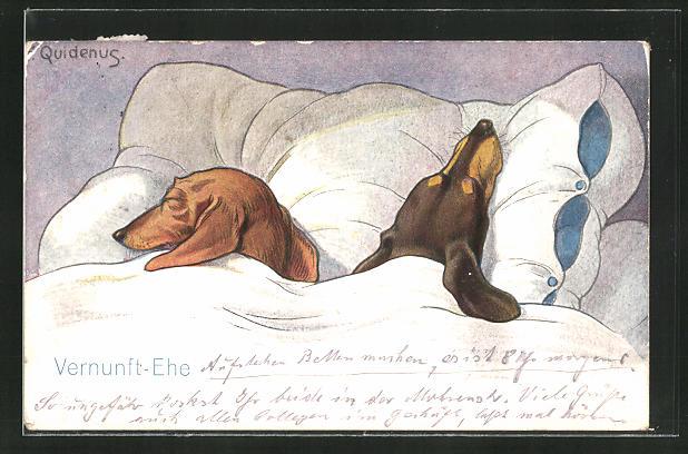 Künstler-AK Fritz Quidenus: Vernunft-Ehe, zwei Dackel unter der Bettdecke