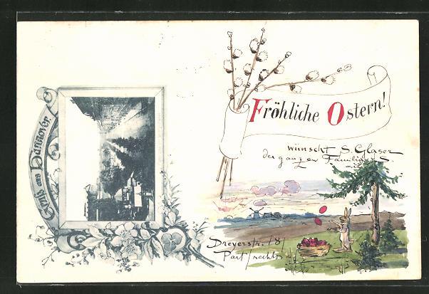 Künstler-AK Susan Beatrice Pearse: Hannover, Panorama der Georgstrasse, Ostergruss