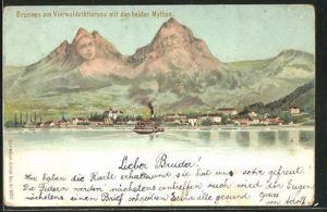 AK Künzli Nr. 5022, Brunnen am Vierwaldstättersee mit den beiden Mythen, Berggesichter