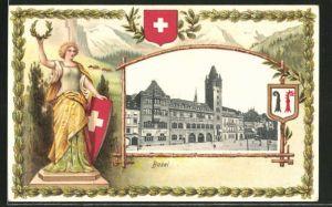 Präge-AK Basel, Passepartout Ortspartie und Frau mit Kranz und Wappen