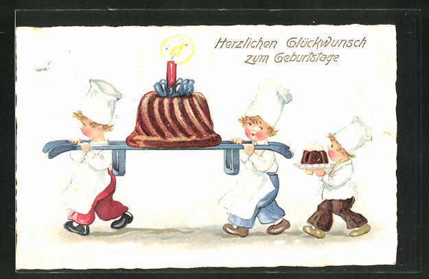 AK Kleine Bäcker tragen einen grossen Schokoladenkuchen zum Geburtastag
