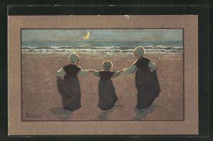 Künstler-AK S. Barham: Kleine Mädchen des Nachts am Meer