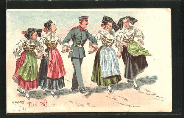 Künstler-AK O. Merte: Soldat mit vier Schwarzwälderinnen im Arm