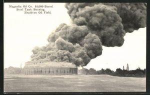 AK Healdton, OK, Magnolia Oil Co., Steel Tank Burning, Oil Field