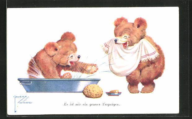 Künstler-AK Lawson Wood: Bären planschen im Bad