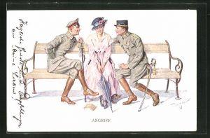 Künstler-AK Theo Zasche: Angriff - zwei Soldaten umwerben eine Dame auf einer Bank