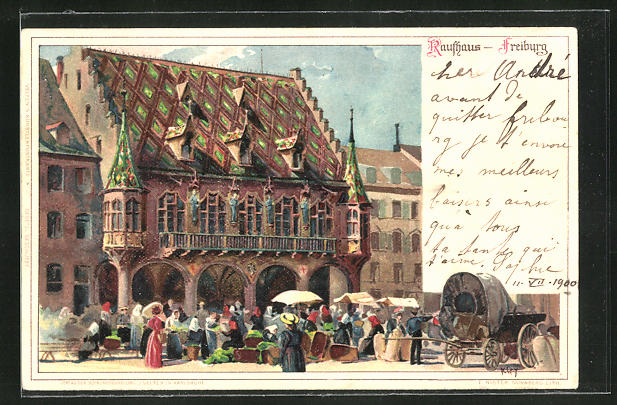 Künstler-AK Heinrich Kley: Freiburg, Marktstände vor dem Rathaus