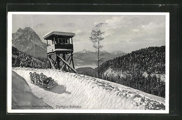 AK Garmisch-Partenkirchen, Olympia, Fahrer auf der Bobbahn