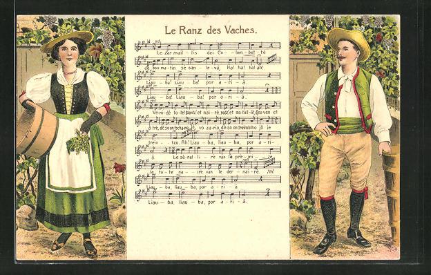 AK Mann und Frau in Tracht bei der Weinlese, Liedtext