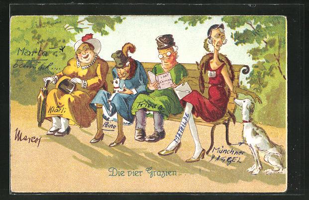 AK Ältere Damen sitzen auf einer Bank,